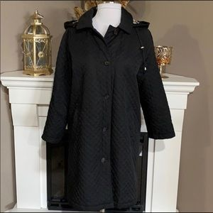 Burberry London Black Quilted Hooded Coat